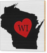 Love Wisconsin Black Wood Print