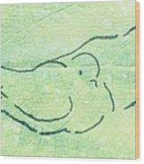 Lovebirds On Green Wood Print