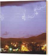 Loveland Colorado Front Range Foothills  Lightning Thunderstorm Wood Print