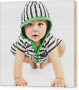 Lovely Boy Isolated On White Background Wood Print by Anna Om