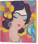Lovely Frida And Little Blue Parrot Wood Print