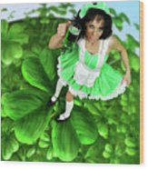 Lovely Irish Girl With A Glass Of Green Beer Wood Print