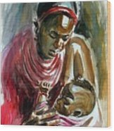 Lovely Masai Mother Wood Print