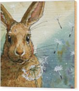 Lovely Rabbits - With Dandelions Wood Print