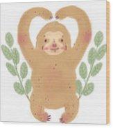 Lovely Sloth Illustration Wood Print