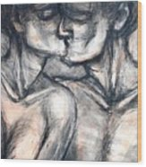 Lovers - Kiss Wood Print