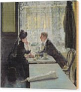 Lovers In A Cafe Wood Print