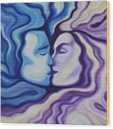Lovers In Eternal Kiss Wood Print