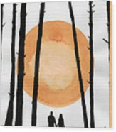 Lovers In Forest Wood Print