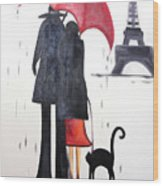 lovers in Paris Wood Print