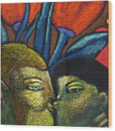 Lovers Kiss Wood Print