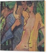 Lovers Wood Print by Otto Muller
