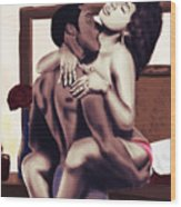 Lovers Sensual Love Wood Print by Kenal Louis