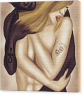 Lovers Touch Wood Print by Kenal Louis