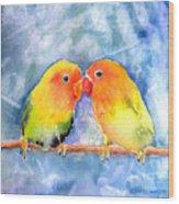 Lovey Dovey Lovebirds Wood Print