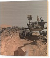 Low-angle Self-portrait Of Nasa's Curiosity Mars Rover Wood Print