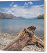 Low Angle View From The Rocky Dart River Bank At Kinloch, Nz Wood Print