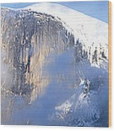 Low Angle View Of A Mountain Covered Wood Print