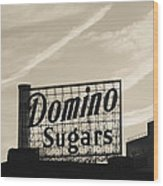 Low Angle View Of Domino Sugar Sign Wood Print