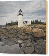 Low Angle View Of The Marshall Point Lighthouse Maine Wood Print