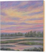 Low Country Marsh Sunset Wood Print