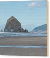 Low Tide At Cannon Beach Wood Print