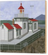 Low Tide At West Point Lighthouse In Seattle Wood Print