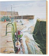 Low Tide Dysart Harbour Wood Print