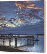 Low Tide Long Dock Wood Print