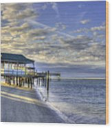 Low Tide Sunrise Tybee Island Wood Print