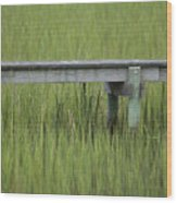 Lowcountry Dock Over Marsh Grass Wood Print