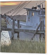 Lowcountry Shrimp Boat Sunset Wood Print