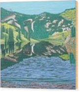 Lower Cataract Lake And Cataract Creek Falls Wood Print