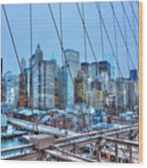 Lower East Side At Dusk From The Brooklyn Bridge Wood Print
