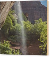 Lower Emerald Pool Falls In Zion Wood Print