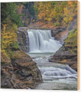 Lower Falls In Autumn Wood Print
