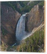 Lower Falls Of Yellowstone River Wood Print