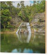 Lower Falls Reflection Of Enfield Glen Wood Print