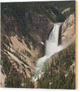 Lower Falls Yellowstone River Wood Print