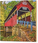 Lower Humbert Covered Bridge 2 - Paint Wood Print