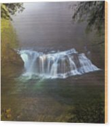 Lower Lewis Falls Foggy Morning Wood Print