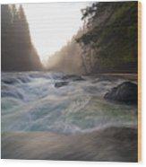 Lower Lewis River Falls During Sunset Wood Print