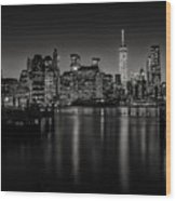 Lower Manhattan From The Brooklyn Piers Wood Print by Dick Wood