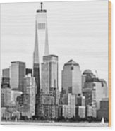 Lower Manhattan In Black And White Wood Print