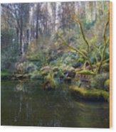 Lower Pond At Portland Japanese Garden Wood Print