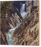 Lower Yellowstone Falls And River Wood Print