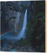 Lower Yosemite Falls Moonbow Wood Print