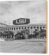 Lsu Tiger Stadium -bw Wood Print