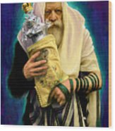 Lubavitcher Rebbe With Torah Wood Print