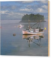 Lubec Waterfront Wood Print